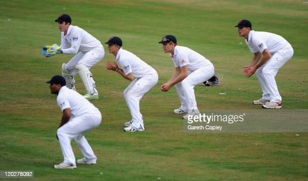 Craig Kieswetter Samit Patel Joe Root Jonathan Bairstow and Alex Hales of England Lions field in the slips during day two of the tour match between...