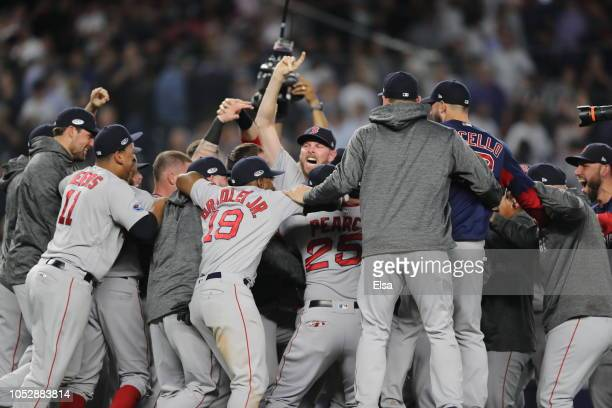 Craig Kimbrel and the Boston Red Sox celebrates after beating the New York Yankees to win Game Four American League Division Series at Yankee Stadium...