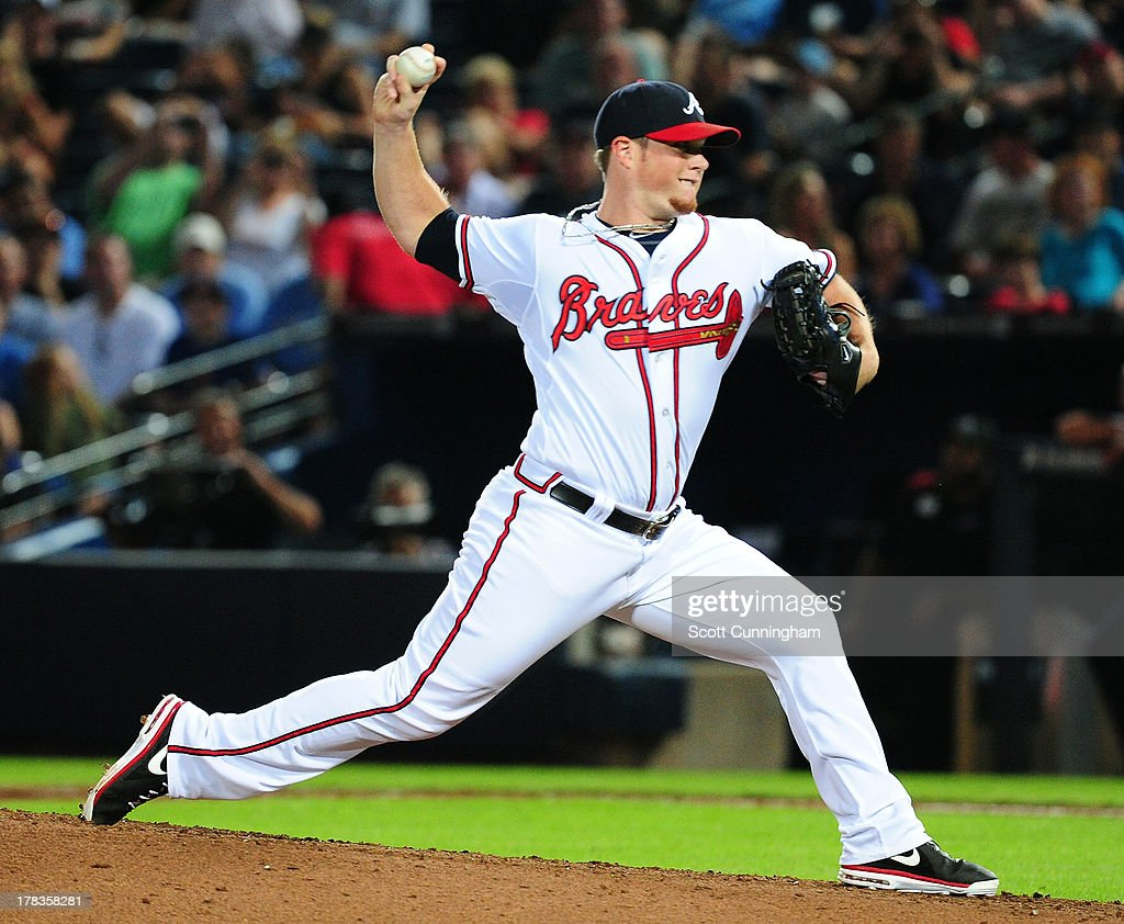 Craig Kimbrel #46 of the Atlanta Braves pitches against the Cleveland Indians at Turner Field on August 29, 2013 in Atlanta, Georgia.