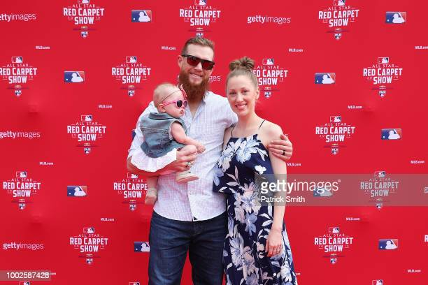 Craig Kimbrel of the Boston Red Sox and guests attend the 89th MLB AllStar Game presented by MasterCard red carpet at Nationals Park on July 17 2018...