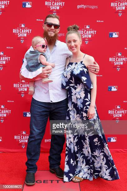 Craig Kimbrel of the Boston Red Sox and the American League attends the 89th MLB AllStar Game presented by MasterCard red carpet with guests at...