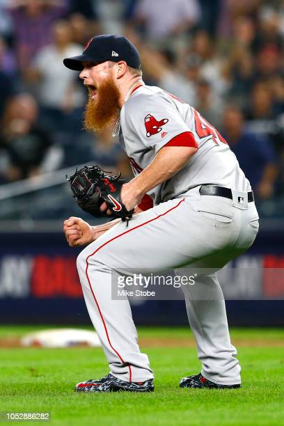 Craig Kimbrel of the Boston Red Sox celebrates after defeating the New York Yankees in Game Four to win the American League Division Series at Yankee...
