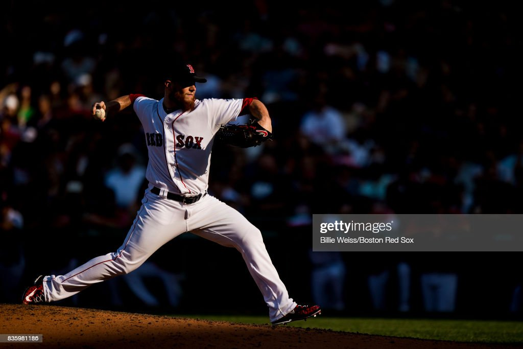Craig Kimbrel #46 of the Boston Red Sox delivers during the ninth inning of a game against the New York Yankees on August 20, 2017 at Fenway Park in Boston, Massachusetts.