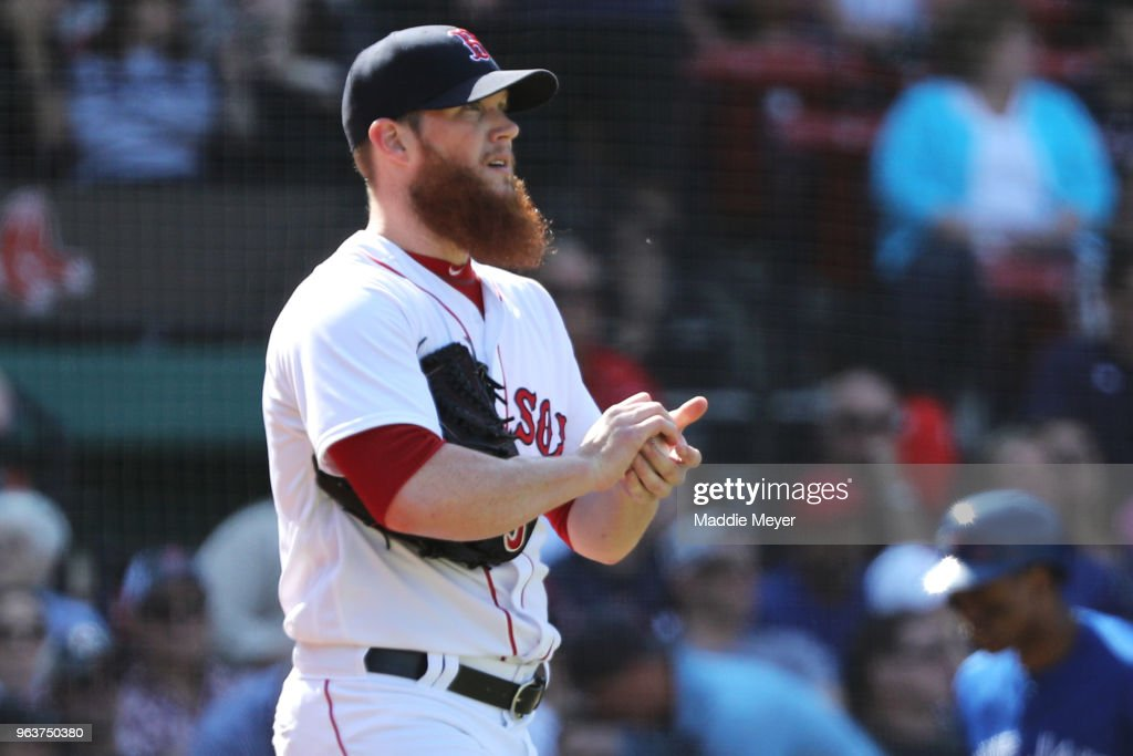 Craig Kimbrel #46 of the Boston Red Sox looks on during the ninth inning against the Toronto Blue Jays at Fenway Park on May 30, 2018 in Boston, Massachusetts.