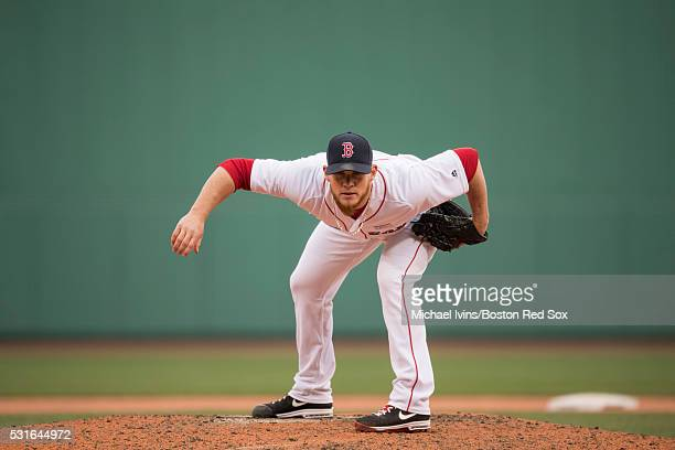 Craig Kimbrel of the Boston Red Sox pitches against the Houston Astros in the ninth inning on May 15 2016 at Fenway Park in Boston Massachusetts