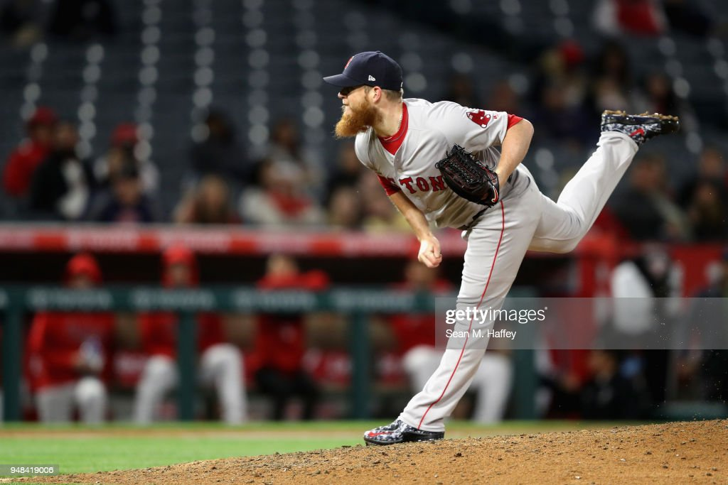 Craig Kimbrel #46 of the Boston Red Sox pitches in relief during the ninthinning of a game against the Los Angeles Angels of Anaheim at Angel Stadium on April 18, 2018 in Anaheim, California.