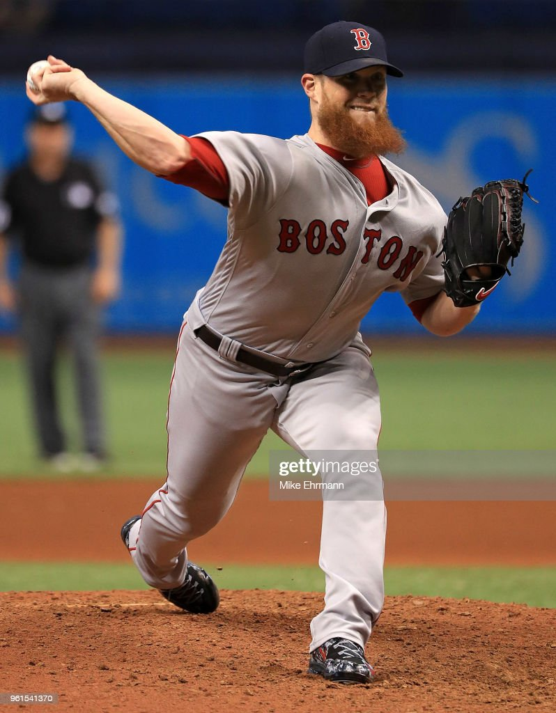 Craig Kimbrel #46 of the Boston Red Sox pitches in the ninth inning during a game against the Tampa Bay Rays at Tropicana Field on May 22, 2018 in St Petersburg, Florida.