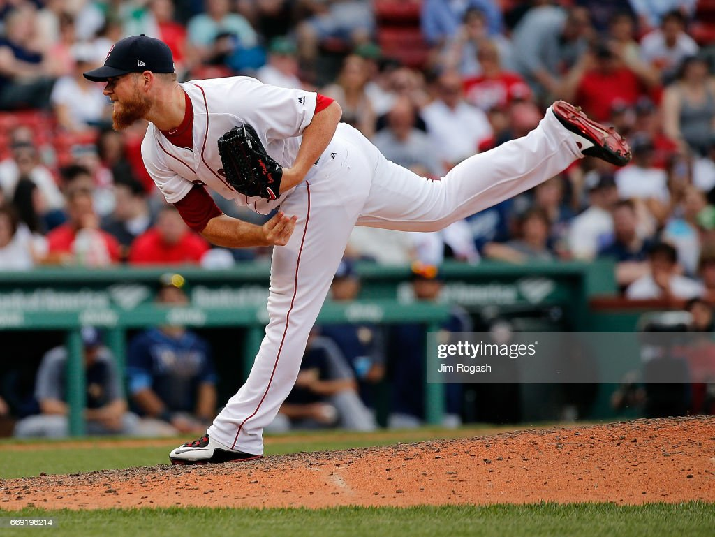 Craig Kimbrel #46 of the Boston Red Sox pitches in the ninth inning against the Tampa Bay Rays at Fenway Park on April 16, 2017 in Boston, Massachusetts.