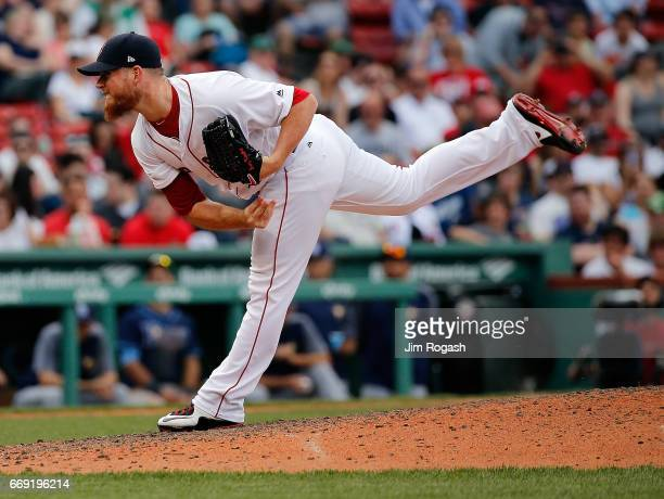 Craig Kimbrel of the Boston Red Sox pitches in the ninth inning against the Tampa Bay Rays at Fenway Park on April 16 2017 in Boston Massachusetts