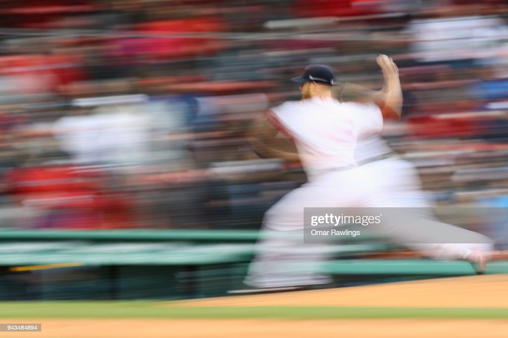 Craig Kimbrel #46 of the Boston Red Sox pitches in the top of the ninth inning during the game against the Tampa Bay Rays at Fenway Park on April 8, 2018 in Boston, Massachusetts.