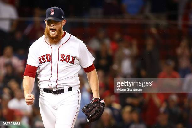 Craig Kimbrel of the Boston Red Sox reacts after making the third out in the eighth inning of a game against the Los Angeles Angels at Fenway Park on...