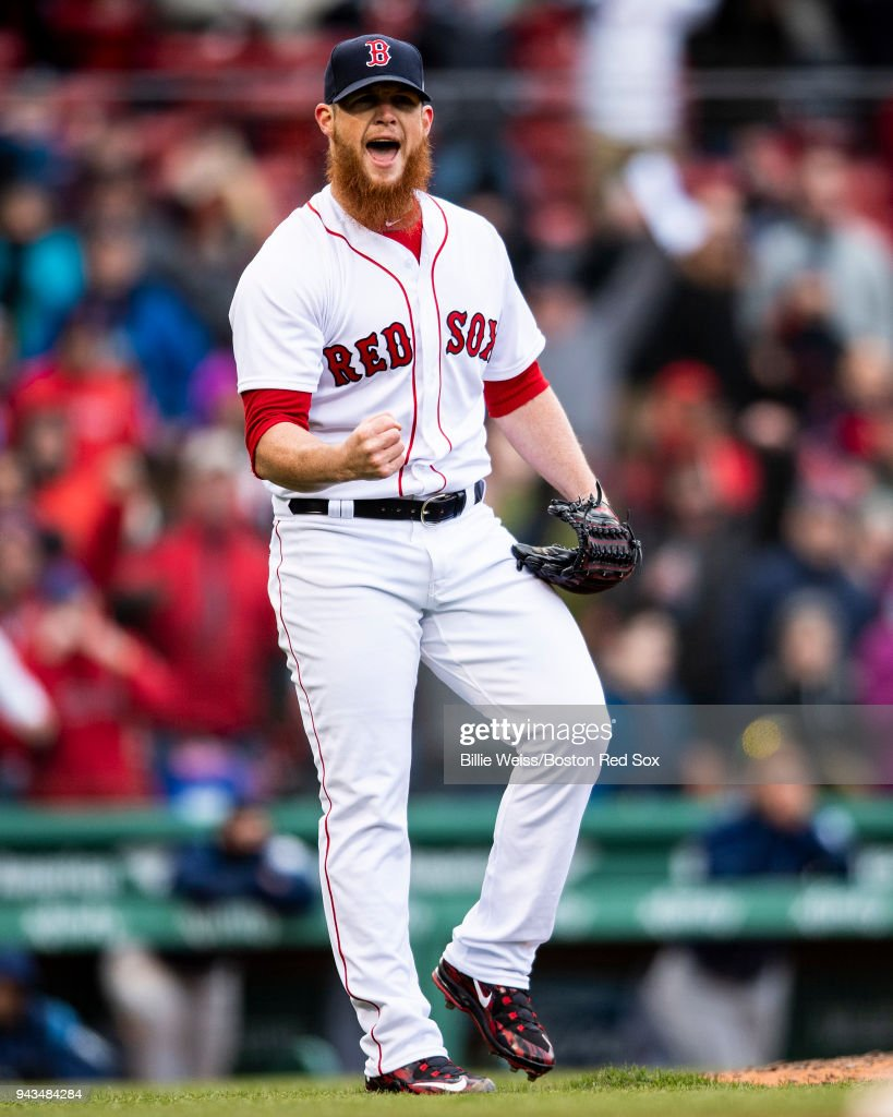 Craig Kimbrel #46 of the Boston Red Sox reacts after recording the final out of the game during the inning of a game against the Tampa Bay Rays on April 8, 2018 at Fenway Park in Boston, Massachusetts.