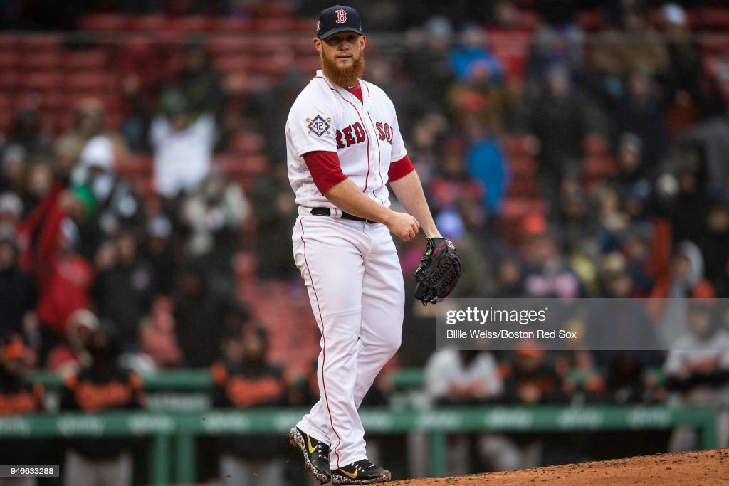 Craig Kimbrel #46 of the Boston Red Sox reacts after recording the final out against the Baltimore Orioles on April 15, 2018 at Fenway Park in Boston, Massachusetts.