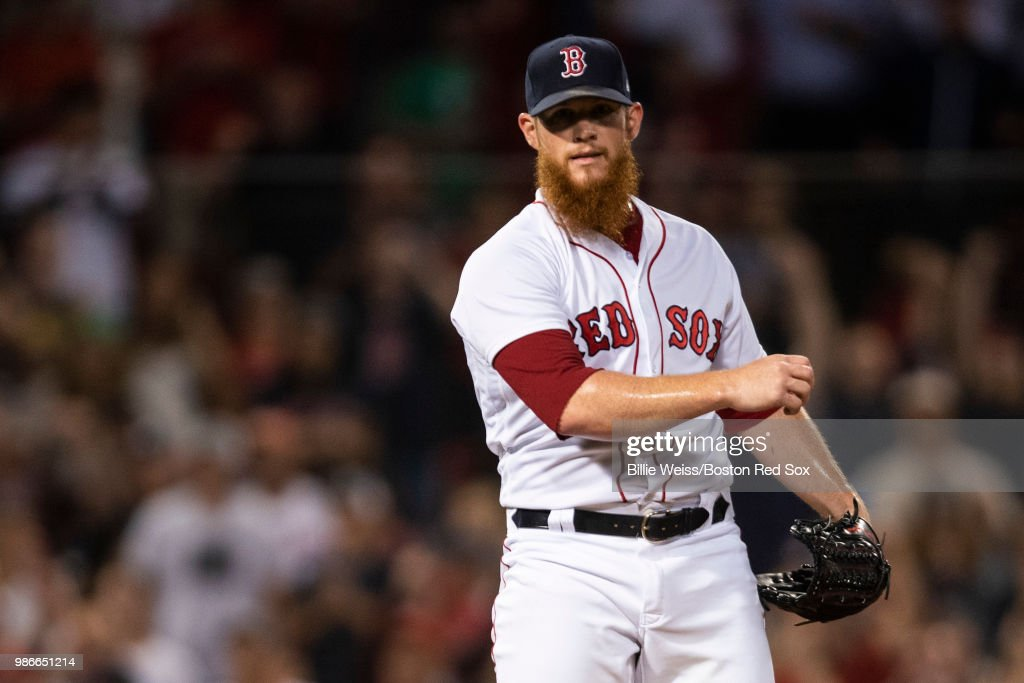 Craig Kimbrel #46 of the Boston Red Sox reacts after recording the final out during the ninth inning of a game against the Los Angeles Angels of Anaheim on June 28, 2018 at Fenway Park in Boston, Massachusetts.