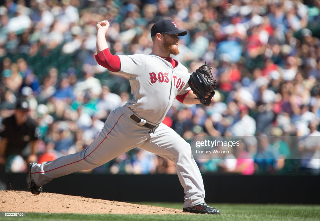 Craig Kimbrel #46 of the Boston Red Sox throws the final pitch in the ninth inning to strike out Carlos Ruiz of the Seattle Mariners at Safeco Field on July 26, 2017 in Seattle, Washington. The Red Sox beat the Seattle Mariners 4-0.