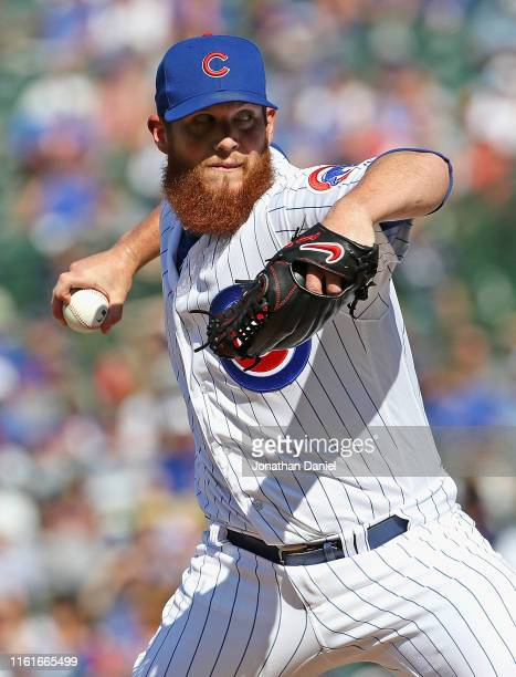 Craig Kimbrel of the Chicago Cubs pitches for a save in the 9th inning against the Pittsburgh Pirates at Wrigley Field on July 12 2019 in Chicago...