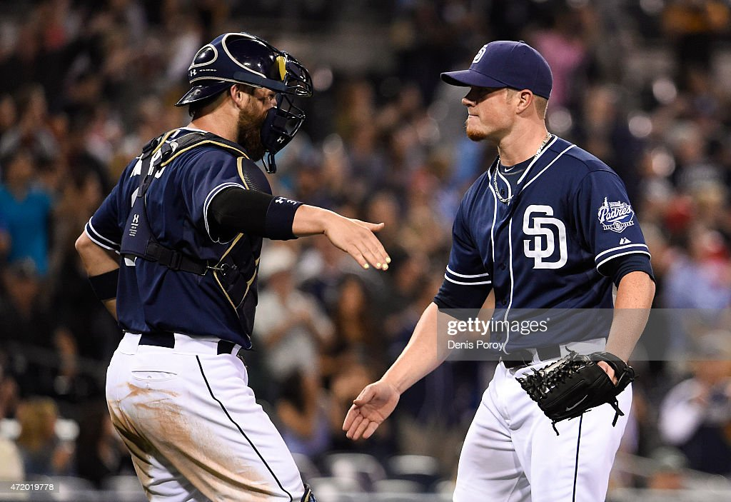 Craig Kimbrel #46 of the San Diego Padres is congratulated by Derek Norris #3 after the Padres beat the Colorado Rockies 4-2 in a baseball at Petco Park May 2, 2015 in San Diego, California.