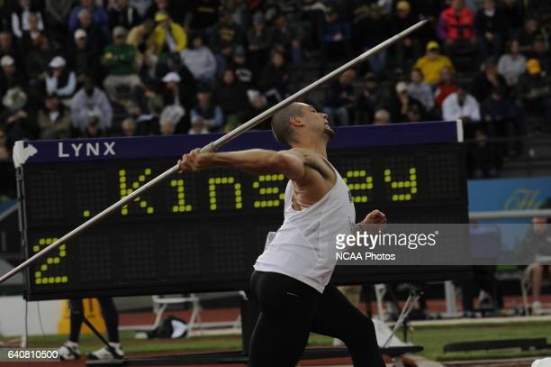 Craig Kinsley of Brown University competes in the javelin throw during the Division I Men's and Women's Track and Field Championship held at Hayward...