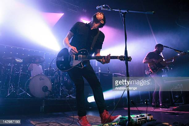 Craig Kneale, Sam McTrusty and Ross McNae of Twin Atlantic performs on stage at HMV Ritz on April 16, 2012 in Manchester, United Kingdom.