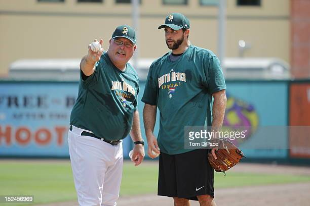 Craig Lefferts and Wade Patrick Mackey of Team South Africa practicing during the workout for the World Baseball Classic Qualifier at Roger Dean...