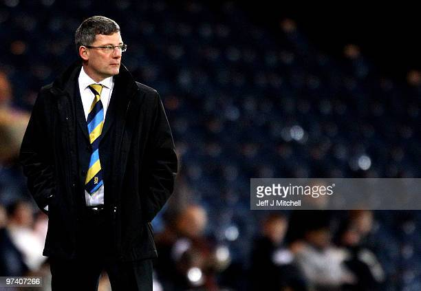 Craig Levein coach of Scotland during the International Friendly match between Scotland and the Czech Republic at Hampden Park on March 3 2010 in...