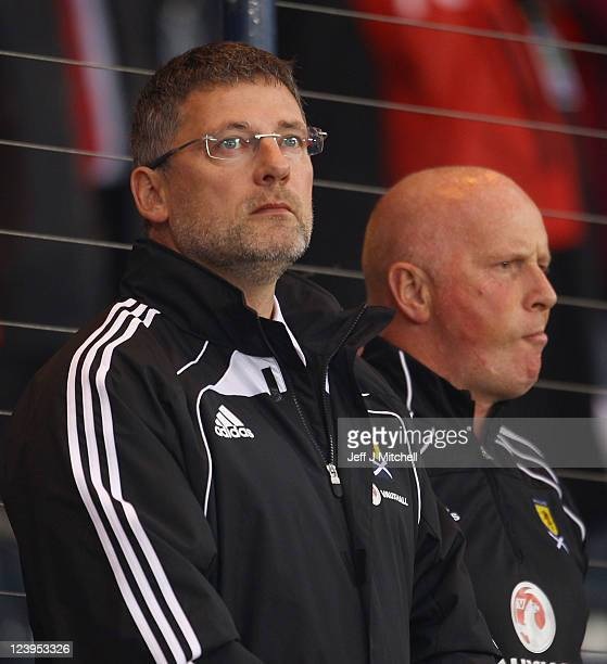 Craig Levein coach of Scotland during the UEFA EURO 2012 Group I qualifying match between Scotland and Lithuania at Hampden Park on September 6 2011...