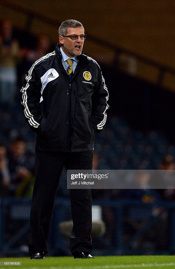 Craig Levein coach of Scotland reacts during the FIFA World Cup Qualifier Between Scotland and Macedonia at Hampden Park on September 11, 2012 in Glasgow, Scotland.