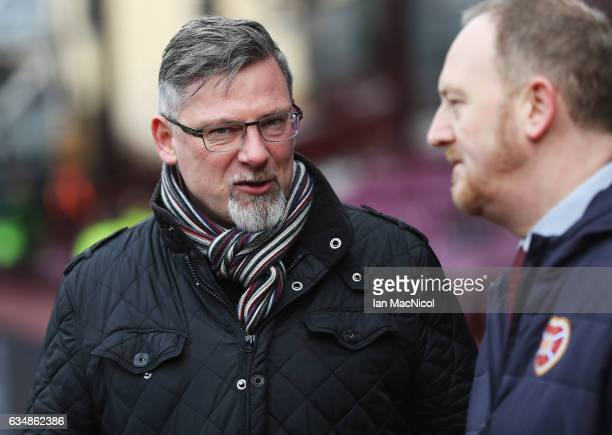 Craig Levein Director of Football at Hearts looks on prior to the Scottish Cup fifth round match between Heart of Midlothian and Hibernian at...