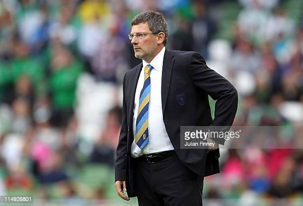 Craig Levein manager of Scotland looks on during the Carling Nations Cup match between Republic of Ireland and Scotland at the Aviva Stadium on May...