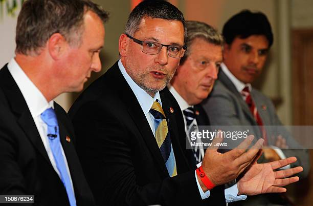 Craig Levein manager of Scotland pictured during the Vauxhall's Road to Brazil Home Nations Managers Press Conference at the HAC on August 24 2012 in...
