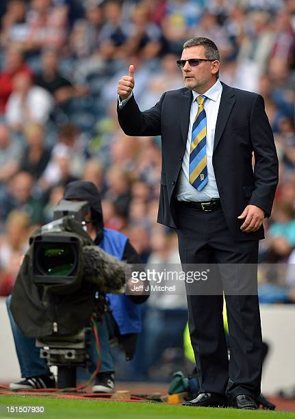 Craig Levein of Scotland reacts during the FIFA 2014 World Cup Qualifier at Hampden Park between Scotland and Serbia on September 8 2012 in Glasgow...