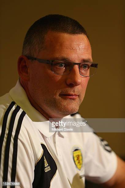 Craig Levein the Scotland manager during the Scotland Press Conference at Celtic Manor Hotel on October 11 2012 in Newport Wales