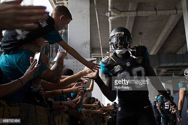 Craig Loston of the Jacksonville Jaguars interacts with fans before the game against the New York Giants at EverBank Field on November 30 2014 in...