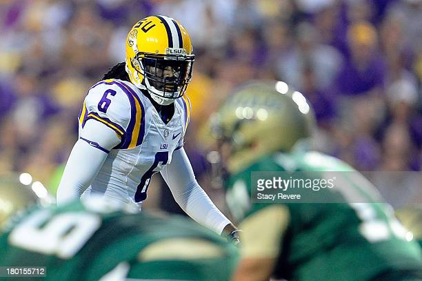 Craig Loston of the LSU Tigers prepares for a play against the UAB Blazers during a game at Tiger Stadium on September 7 2013 in Baton Rouge Louisiana