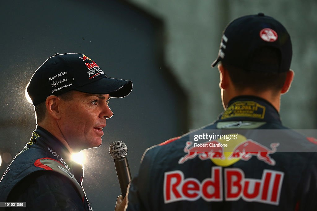 Craig Lowndes driver for Red Bull Australia talks during the Red Bull Racing Australia 2013 V8 Supercars launch at Carriageworks on February 14, 2013 in Sydney, Australia.
