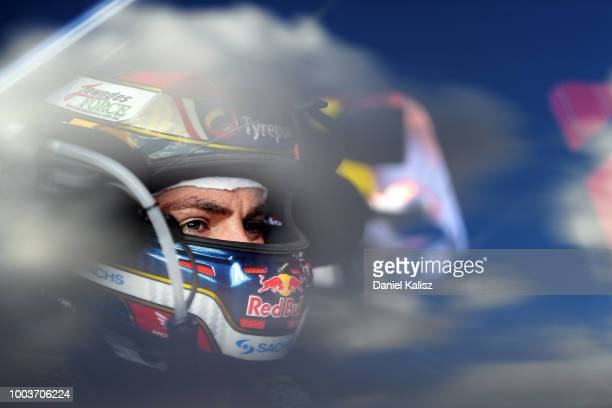 Craig Lowndes driver of the Autobarn Lowndes Racing Holden Commodore ZB looks on prior to race 20 of the Supercars Ipswich SuperSprint on July 22...