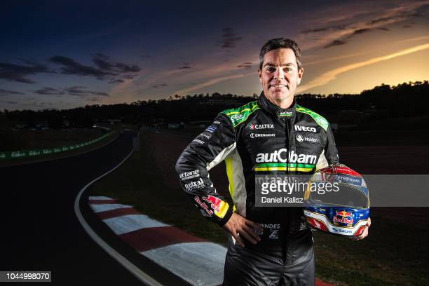 Craig Lowndes driver of the Autobarn Lowndes Racing Holden Commodore ZB poses for a portrait during previews ahead of the Bathurst 1000 which is part...