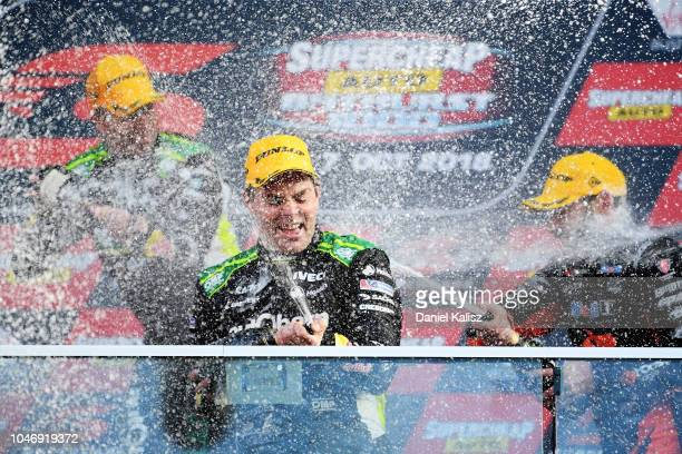 Craig Lowndes driver of the Autobarn Lowndes Racing Holden Commodore ZB celebrates after winning the Bathurst 1000 which is race 25 of the Supercars...