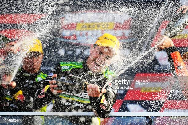 Craig Lowndes driver of the Autobarn Lowndes Racing Holden Commodore ZB celebrate after winning the Bathurst 1000 which is race 25 of the Supercars...