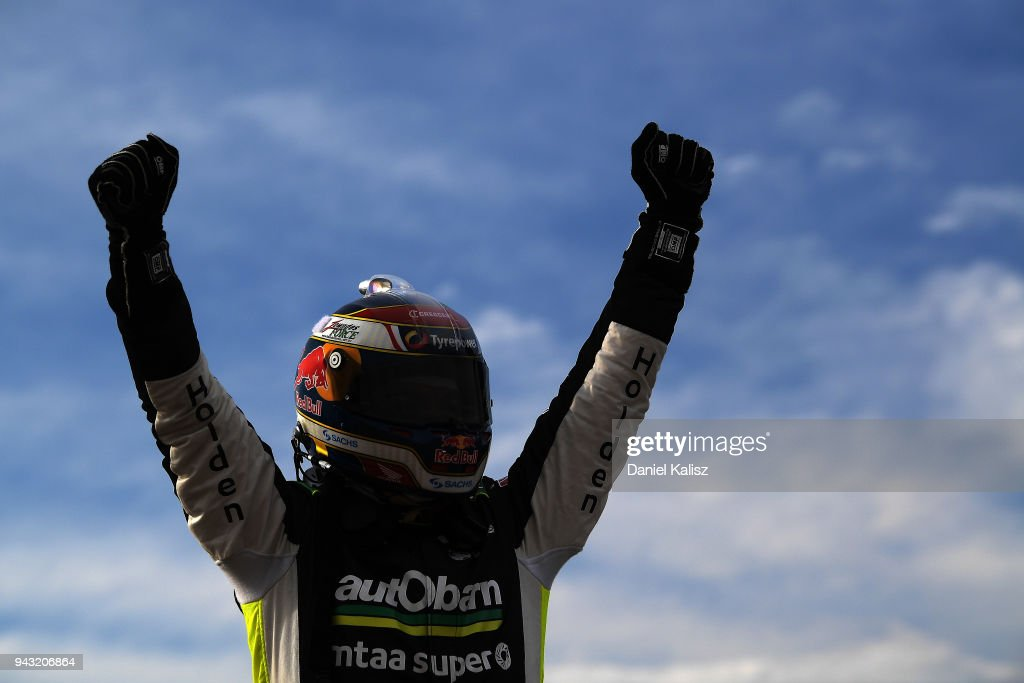 Craig Lowndes driver of the #888 Autobarn Lowndes Racing Holden Commodore ZB celebrates after winning race 2 for the Supercars Tasmania SuperSprint on April 8, 2018 in Hobart, Australia.