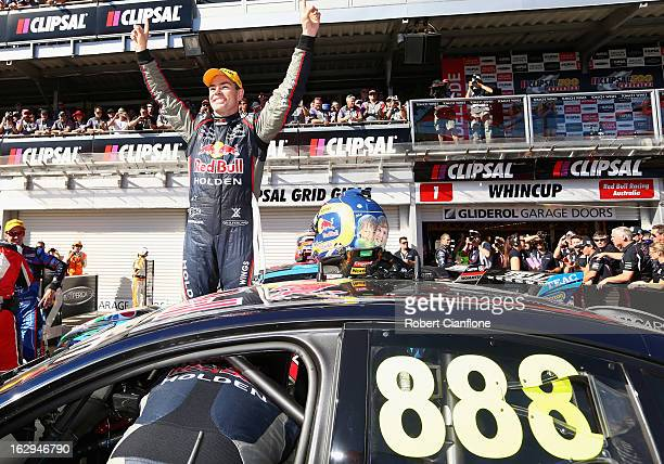 Craig Lowndes driver of the Red Bull Racing Australia Holden celebrates after winning race one of the Clipsal 500 which is round one of the V8...