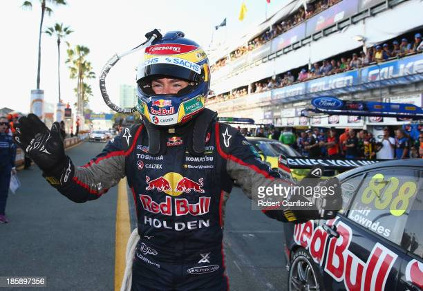 Craig Lowndes driver of the Red Bull Racing Australia Holden celebrates after he won race 30 for the Gold Coast 600 which is round 12 of the V8...