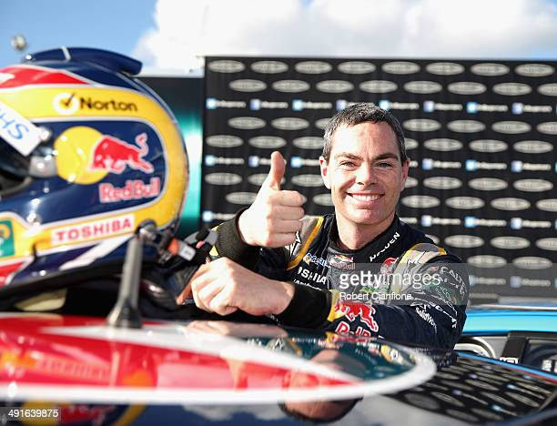 Craig Lowndes driver of the Red Bull Racing Australia Holden celebrates after winning race 15 at the Perth 400 which is round five of the V8 Supercar...