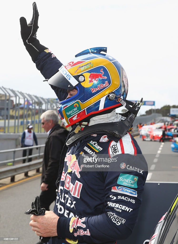 Craig Lowndes driver of the #888 Red Bull Racing Australia Holden celebrates after winning Race 31 for the Phillip Island SuperSprint, which is part of the V8 Supercar Championship Series at Phillip Island Grand Prix Circuit on November 21, 2015 in Phillip Island, Australia.