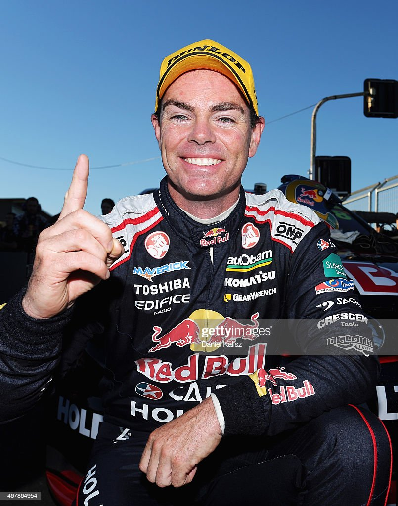 Craig Lowndes driver of the #888 Red Bull Racing Holden VF Commodore reacts after winning race 2 for the V8 Supercars Tasmania SuperSprint at Symmons Plains Raceway on March 28, 2015 in Launceston, Australia.