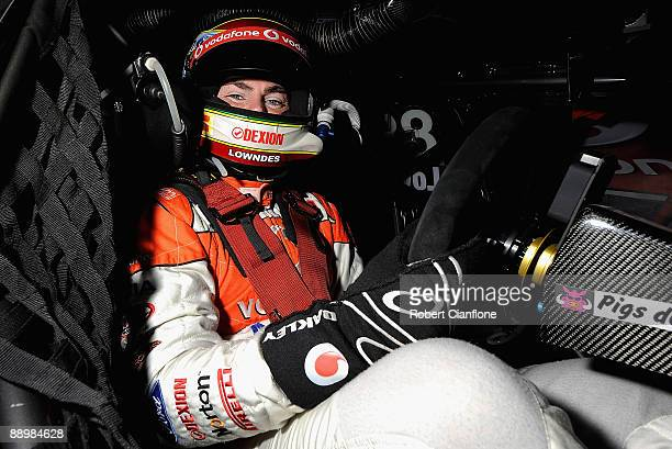 Craig Lowndes driver of the Team Vodafone Ford sits in his car prior to qualifying for race 12 for round six of the V8 Supercar Championship Series...