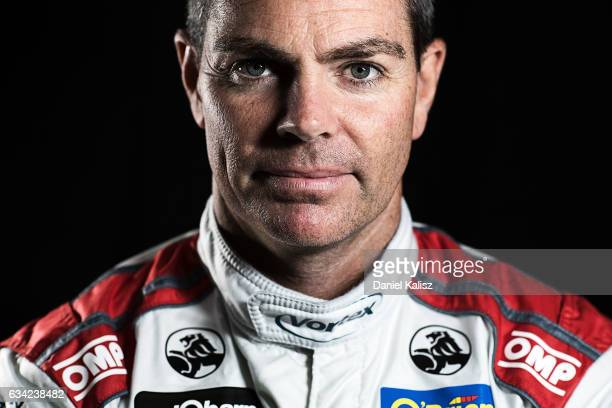 Craig Lowndes driver of the TeamVortex Holden Commodore VF poses during a portrait session during the 2017 Supercars media day on February 8 2017 in...