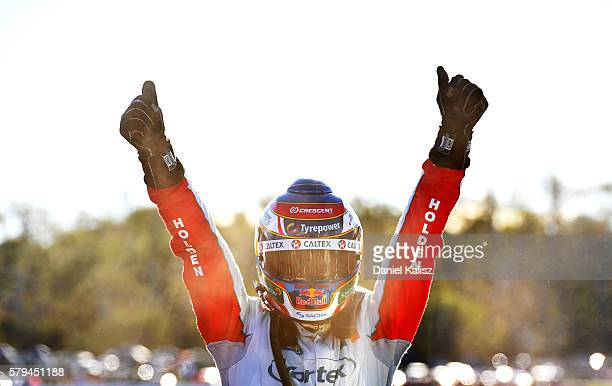 Craig Lowndes driver of the TeamVortex Holden Commodore VF reacts after winning race 2 for the V8 Supercars Ipswich Supersprint on July 24 2016 in...