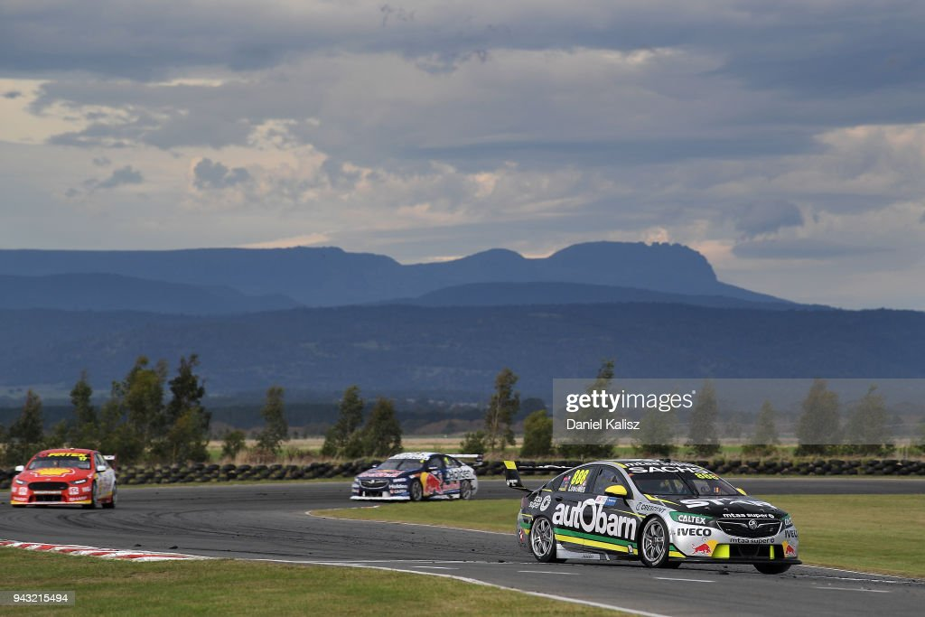 Craig Lowndes drives the #888 Autobarn Lowndes Racing Holden Commodore ZB during race 2 for the Supercars Tasmania SuperSprint on April 8, 2018 in Hobart, Australia.