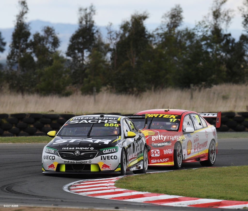 Craig Lowndes drives the #888 Autobarn Lowndes Racing Holden Commodore ZB leads Scott McLaughlin drives the #17 Shell V-Power Racing Team Ford Falcon FGX during race 2 for the Supercars Tasmania SuperSprint on April 8, 2018 in Hobart, Australia.